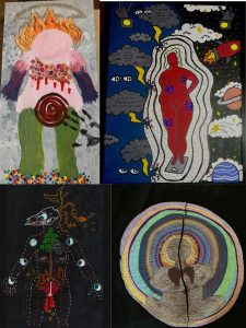 Collage of artwork. Top left is a painting of the outline of a person with flames on their head. The top right shows the outline of an adult on a scale with lines around them keeping the lightening away. The bottom left shows the outline of a human with roots and branches coming through their skull. Inside the outline shows the moon cycle and a tree. The bottom right shows someone meditating with a big heart.