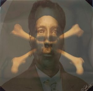 abstract portrait of a man with bones across face