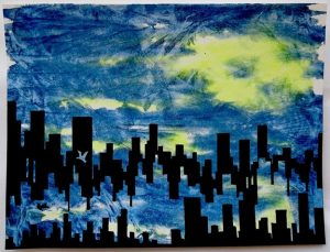 painting of cityscape