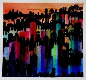 rainbow painting of buildings