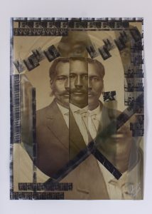 abstract portraits of a man stacked on top of one another