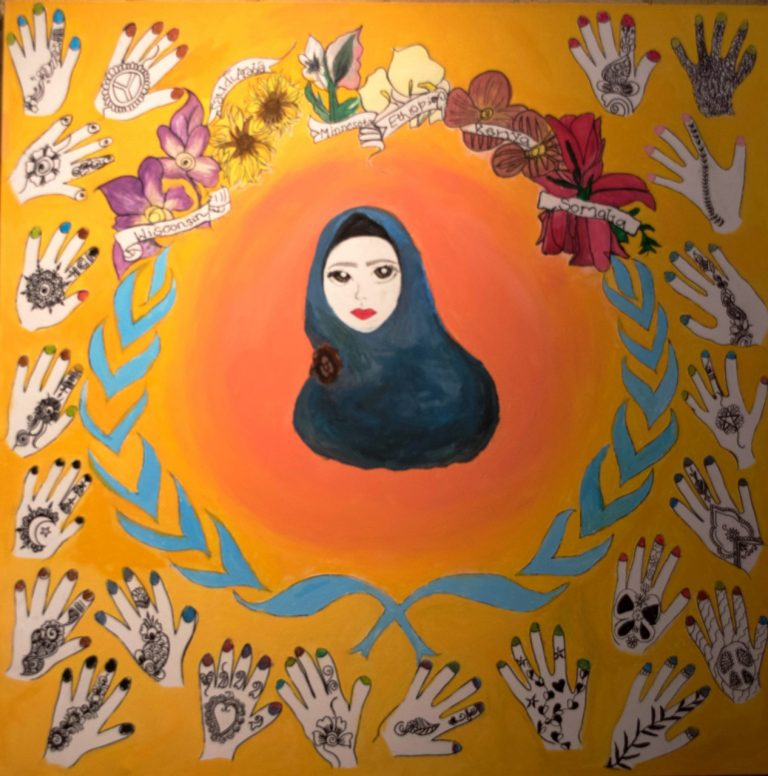 mural of Somali woman with hands around her