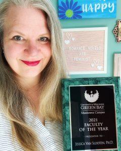 Jessica Van Slooten with Faculty of the Year AwardMay 2021